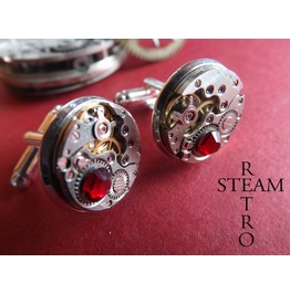 Steampunk Red Siam Cufflinks Steamretro Mens Jewelry Steamretro, Men Cufflinks Cufflinks Steampunk Cufflinks Wedding Cufflinks