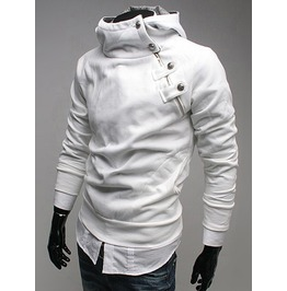 White Slim Fit Side Zipped Hoodie Sh24