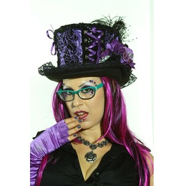 Damask Big Top Hat Purple