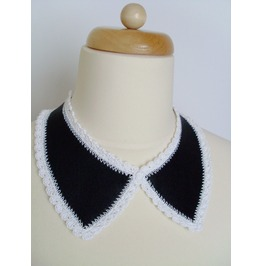 Black Real Leather Collar Necklace With White Trim