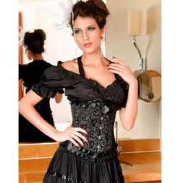 Sexy Black Floral Lace Bustier Corset