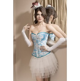 Sexy Blue Floral Bustier Corset