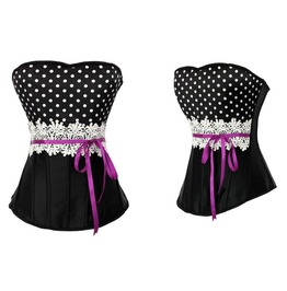 Sexy Strapless Polka Dots Bustier Corset