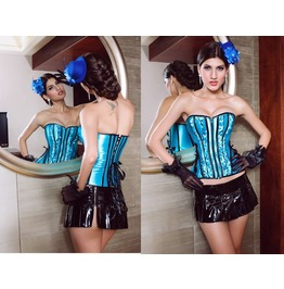 Sexy Strapless Blue Stripes Bustier Corset