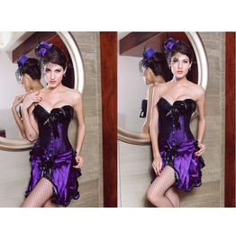 Sexy Purple Feather Bustier Corset
