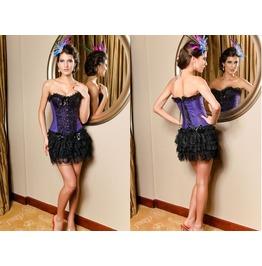 Sexy Purple Lace Floral Bustier Corset
