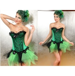 Sexy Emerald Green Lace Floral Bustier Corset