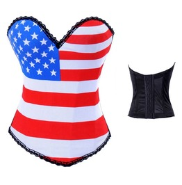 Sexy Stars Stripes Print Bustier Corset