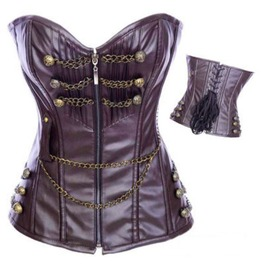 Sexy Faux Leather Links Chains Bustier Corset