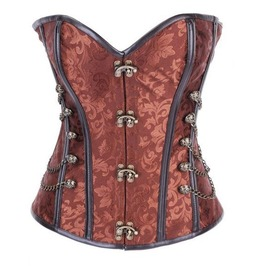 Sexy Brown Metal Closure Chains Studs Bustier Corset