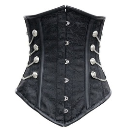 Sexy Black Metal Closure Chains Studs Underbust Corset