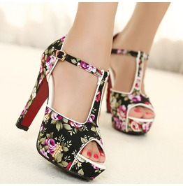 Colorful Flower Print Open Toe Thin High Heel Pumps