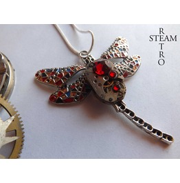 Steampunk Necklace Gaudi Steampunk Libélula Watch Mechanism Pendant Necklace Red Steampunk Jewelry Steamretro
