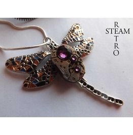 Steampunk Necklace Gaudi Steampunk Libélula Watch Mechanism Pendant Necklace Amethyst Steampunk Jewelry Steamretro