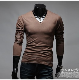 V Neck Long Sleeve Tee Nkr167 T Color : Brown