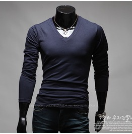 V Neck Long Sleeve Tee Nkr167 T Color : Navy
