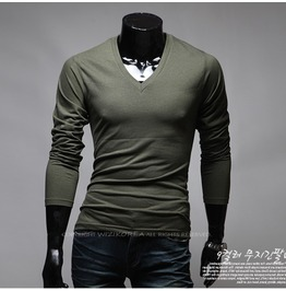 V Neck Long Sleeve Tee Nkr167 T Color : Khaki