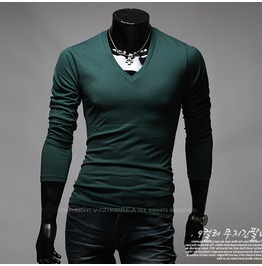 V Neck Long Sleeve Tee Nkr167 T Color : Green