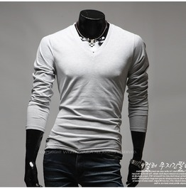 V Neck Long Sleeve Tee Nkr167 T Color : Gray