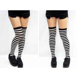B&W Striped Cosplay Thigh High Socks
