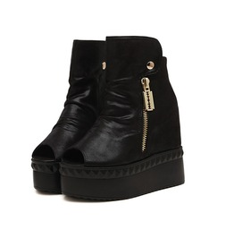 Black Platform Peep Toe Boot Zipper Side