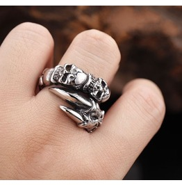 Eagle Claw Titanium Stainless Steel Men Ring Skull Ring Tail Ring