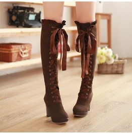Knee High Lace Ribbon Thick High Heel Boots