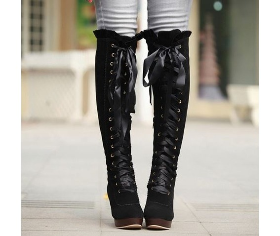 knee_high_lace_ribbon_thick_high_heel_boots_booties_3.JPG