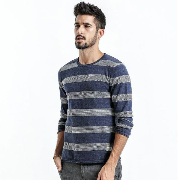 MA ONLINE Mens Fancy Long Sleeve Ribbed Knitted Cardigan Adults Casual Wear Button Fasten Tops Sweater