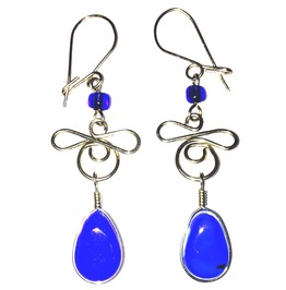 Gorgeous! Hand Crafted Tibetian Silver Blue Glass Earrings Teardrop Design
