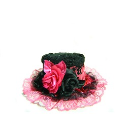 Damask Mini Top Hat Hot Pink