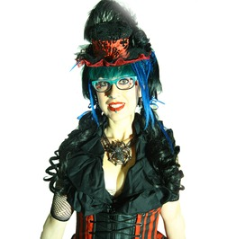 Damask Mini Top Hat Red