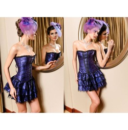 Sexy Purple Strapless Front Lace Bustier Corset