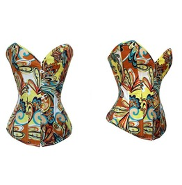 Sexy Strapless Colorful Print Bustier Corset