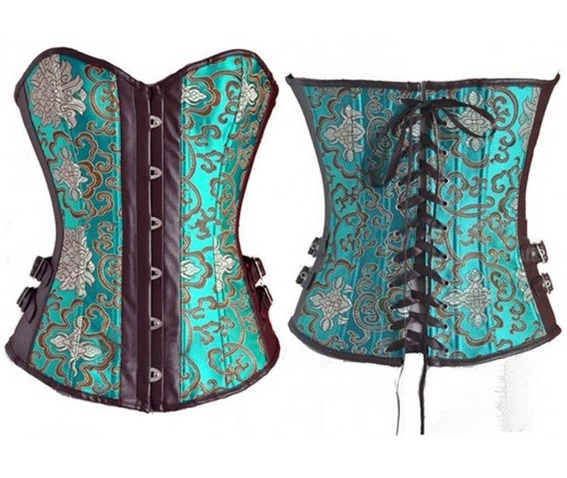 sexy_strapless_green_floral_side_straps_bustier_corset_bustiers_and_corsets_3.JPG