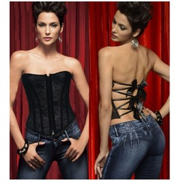 Sexy Strapless Black Stripes Floral Bustier Corset