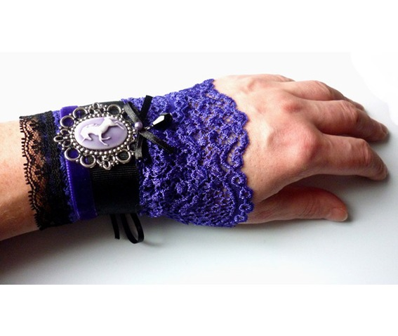 unicorn_cuff_bracelet_purple_black_gothic_victorian_wedding_dark_mori_bracelets_3.JPG