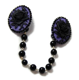 Purple Black Rose Cameo Sweater Clip Black Pearls