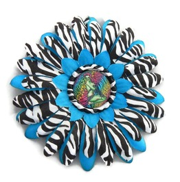Blue Zebra Print Hair Flower Zombie Pinup Center