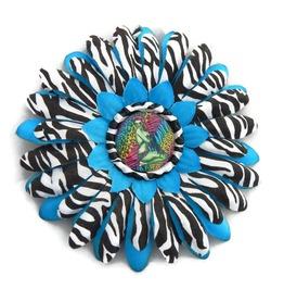 Blue Zebra Print Hair Flower Zombie Pinup Center