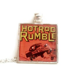 Rockabilly Red Hot Rod Necklace, Kitsch, Kustom Kulture, Car Culture, Retro