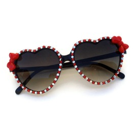 Pinup Rhinestone Red Bow Retro Heart Shaped Sunglasses