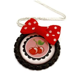 Pinup Style Cherry Necklace Black Bottlecap Red Polka Dot Bow, Rockabilly, Kitsch