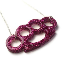 Rockabilly Pink Glitter Brass Knuckles Necklace