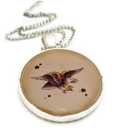 Tattoo Inspired Eagle Rockabilly Necklace, Tattoo Flash Bald Eagle, Americana Bird Tattoo Art