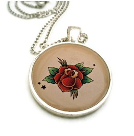 Tattoo Inspired Red Rose Rockabilly Necklace, Tattoo Flash Rose, Flower Tattoo Art