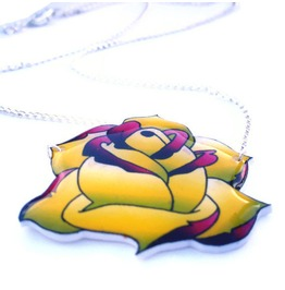 Yellow Green Purple Traditional Rose Tattoo Necklace