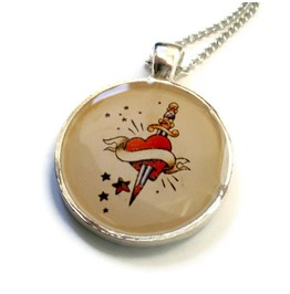 Tattoo Inspired Heart Dagger Rockabilly Necklace, Tattoo Flash Heart