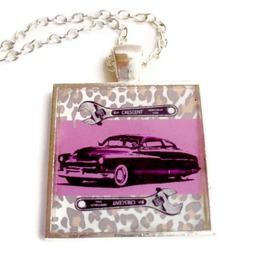 Rockabilly Necklace Custom Mercury Black Pink Wrenches Leopard Print