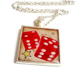 Rockabilly Red Dice Necklace Yellow Stars Silver Plated Bezel
